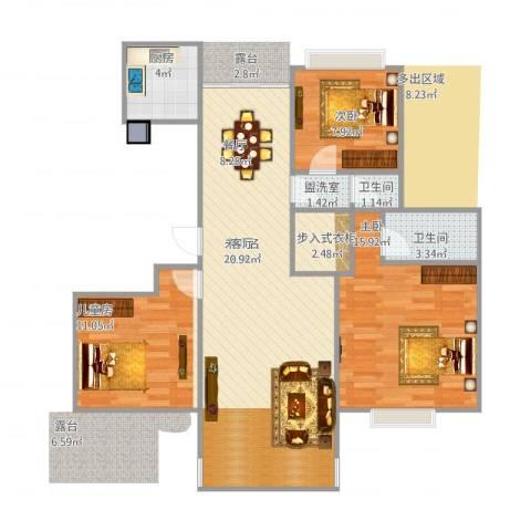 江南华庭3室1厅2卫1厨109.00㎡户型图
