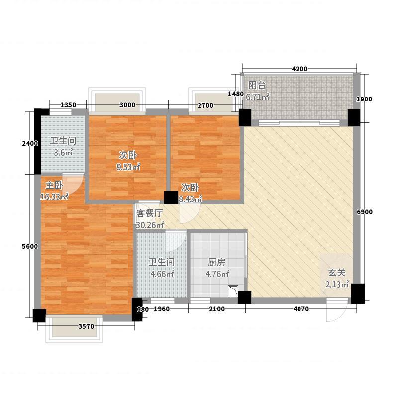 滨江世纪城28.20㎡28A户型2室2厅2卫1厨