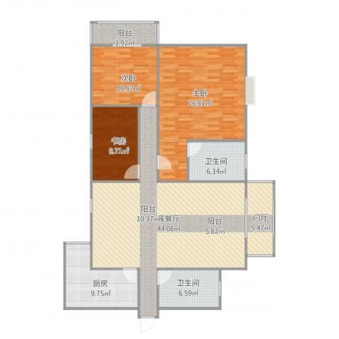 杰信花园3室1厅2卫1厨165.00㎡户型图