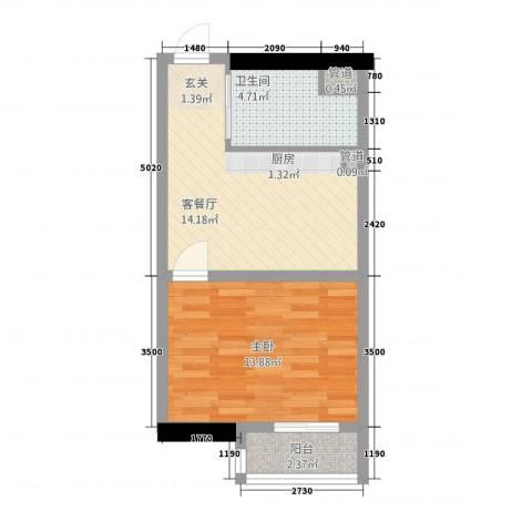华懋大厦1室1厅1卫0厨52.00㎡户型图