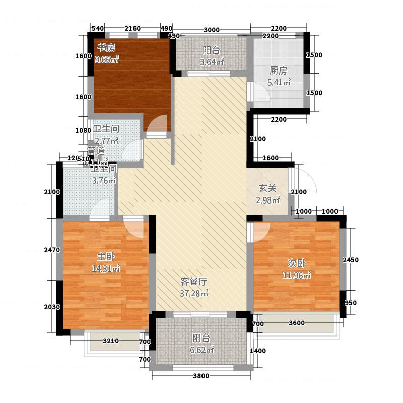 伟星城3128.20㎡林景园3#C花型户型3室2厅2卫1厨