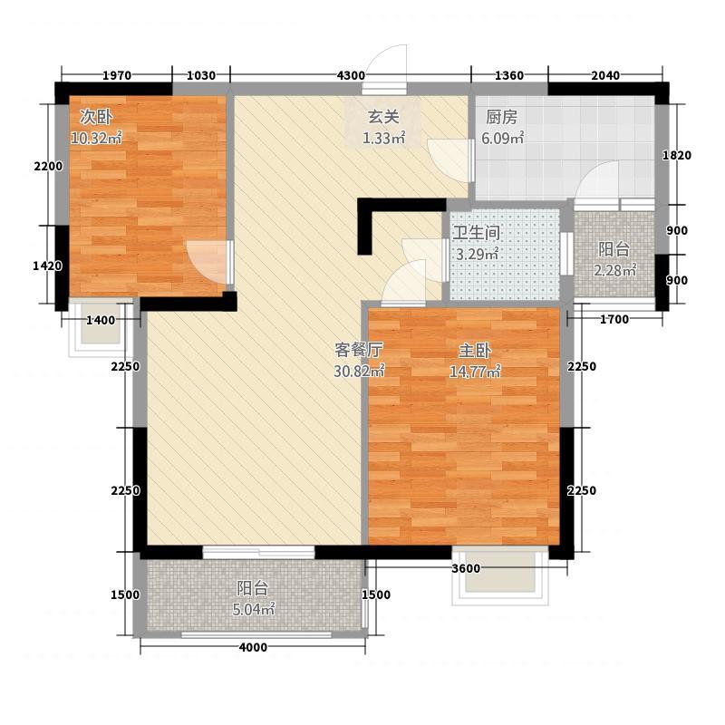 盛世东城1115.85㎡11号楼户型3室2厅1卫1厨