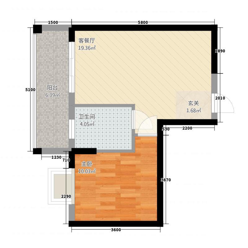 桂星园21255.20㎡G2户型1室2厅1卫1厨