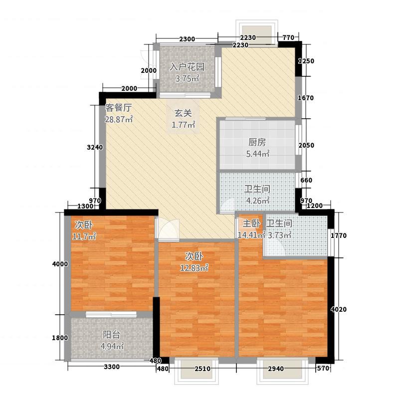桂星园32126.35㎡E户型3室2厅2卫1厨