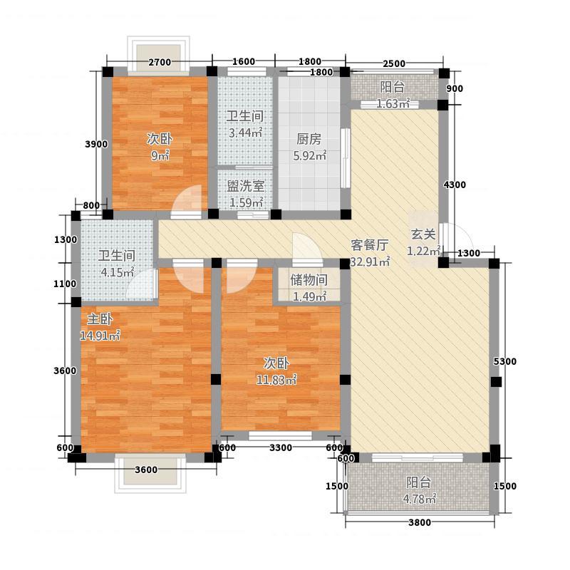 金泰国际2322113.25㎡F户型3室2厅2卫