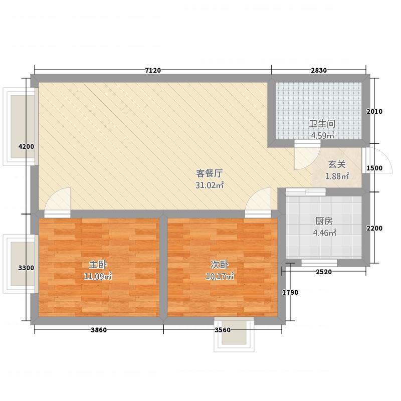香悦湾86.20㎡户型2室1厅1卫1厨