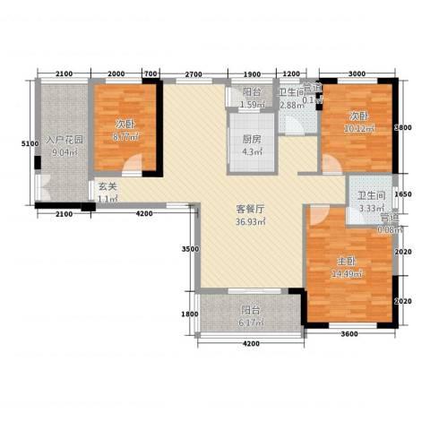 天下城市星座二期3室1厅2卫1厨5127.00㎡户型图