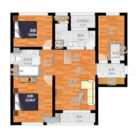 惠灵顿国际社区河庭花苑3室1厅1卫1厨121.00㎡户型图