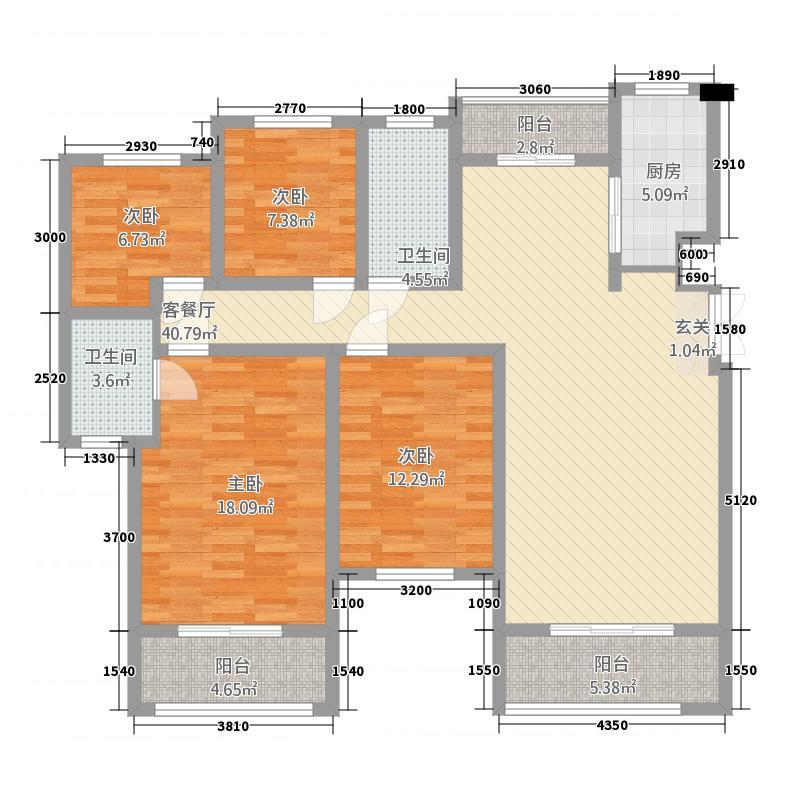 建业桂园442162.19㎡户型4室2厅2卫1厨