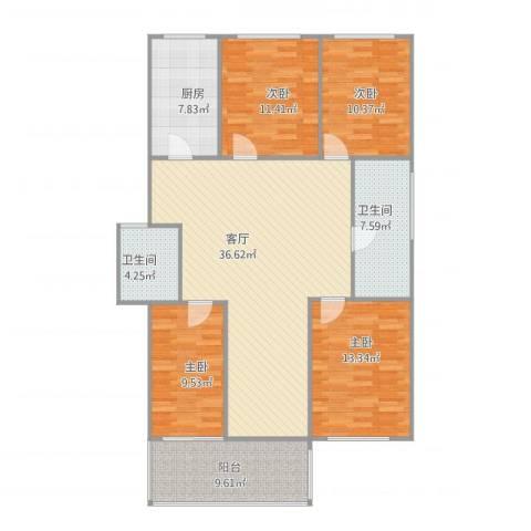 竹竿巷社区4室1厅2卫1厨148.00㎡户型图