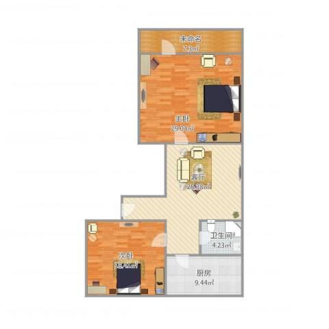 三里庄附近宿舍2室1厅1卫1厨99.89㎡户型图