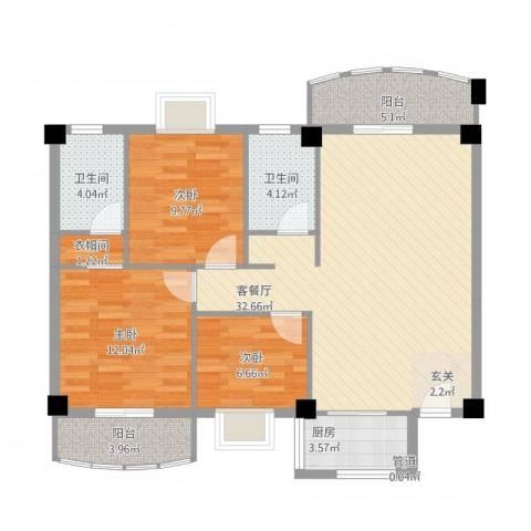 翔鹭花城新生活3室1厅2卫1厨117.00㎡户型图