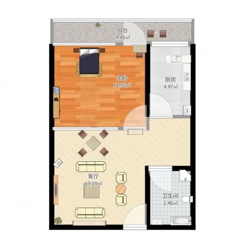 青塔芳园1室1厅1卫1厨59.00㎡户型图