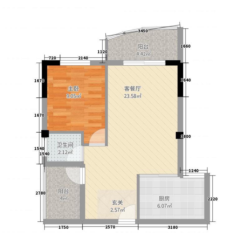 丽景新城17.20㎡户型1室2厅1卫1厨