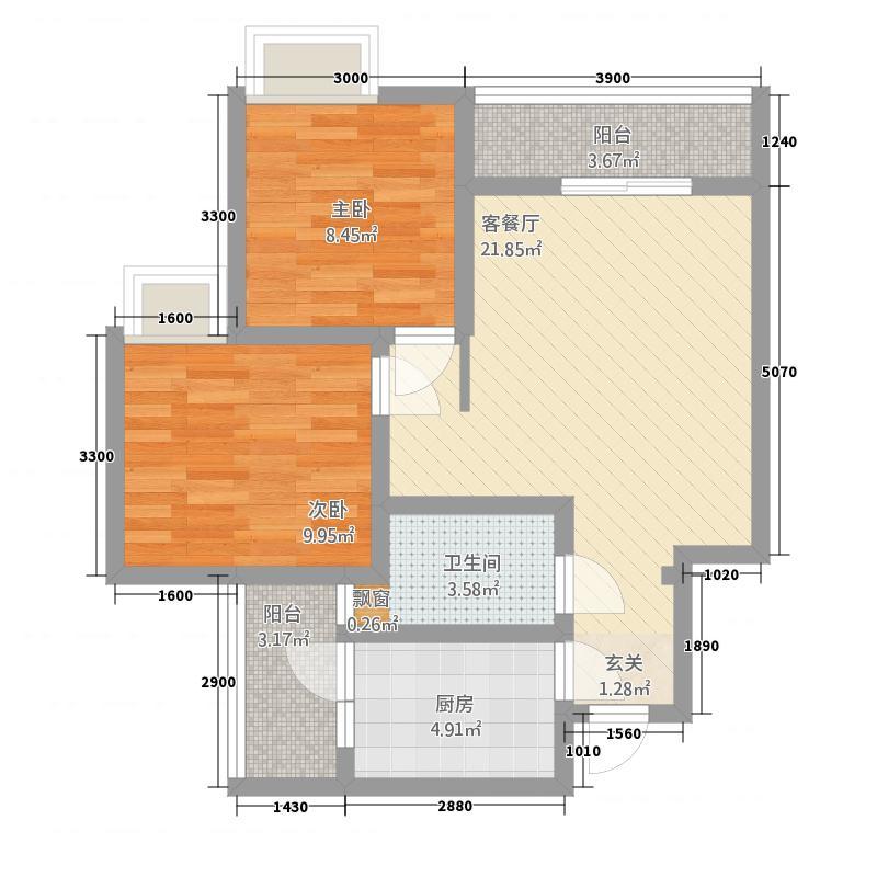 广慧好望角471.20㎡一期4号楼标准层C2户型2室2厅1卫1厨