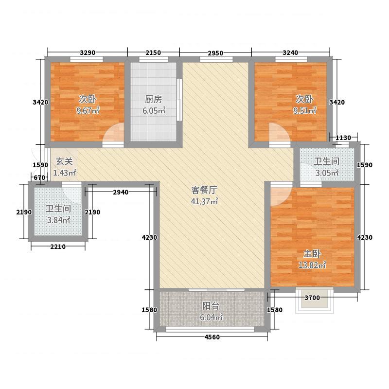 天隆谦益名邸133.82㎡F户型3室2厅2卫1厨