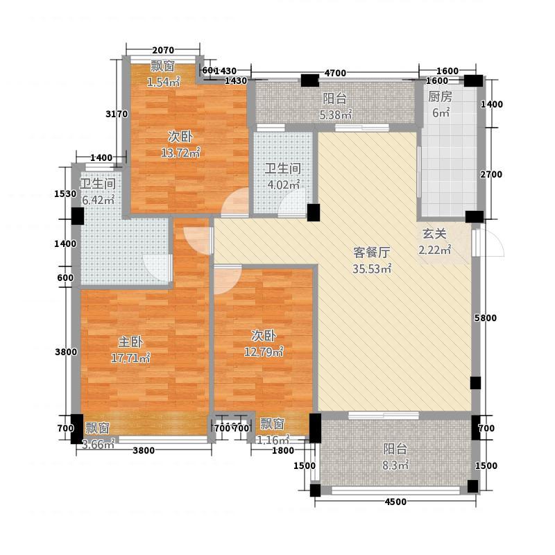华浩国际城612.20㎡一期6座标准层02户型3室2厅2卫