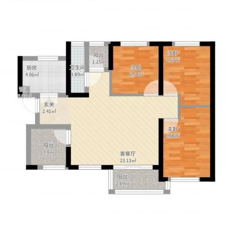 万科金域曲江3室1厅1卫1厨89.00㎡户型图