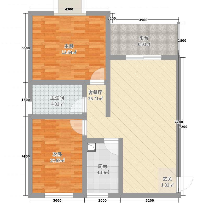 金港上品2682.43㎡二期26号楼标准层F7户型2室2厅1卫1厨