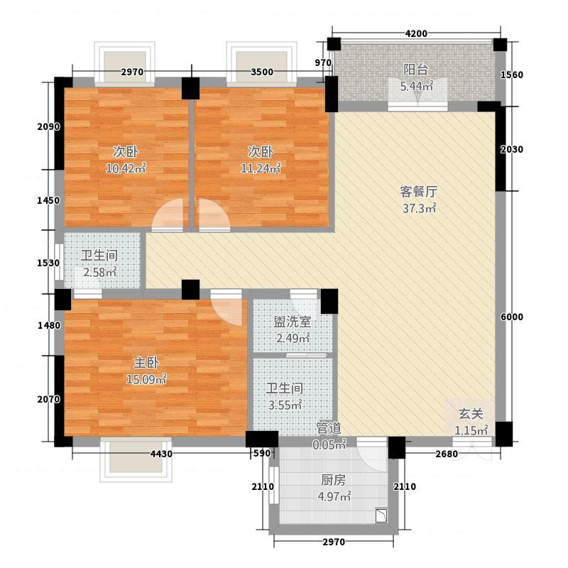 日月山庄二期学府俊园126.36㎡12T191A6-10O户型3室2厅2卫