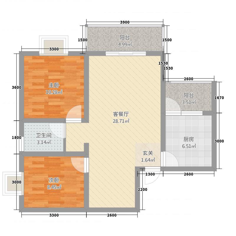 金港上品268.25㎡二期26号楼标准层F4户型2室2厅2卫1厨