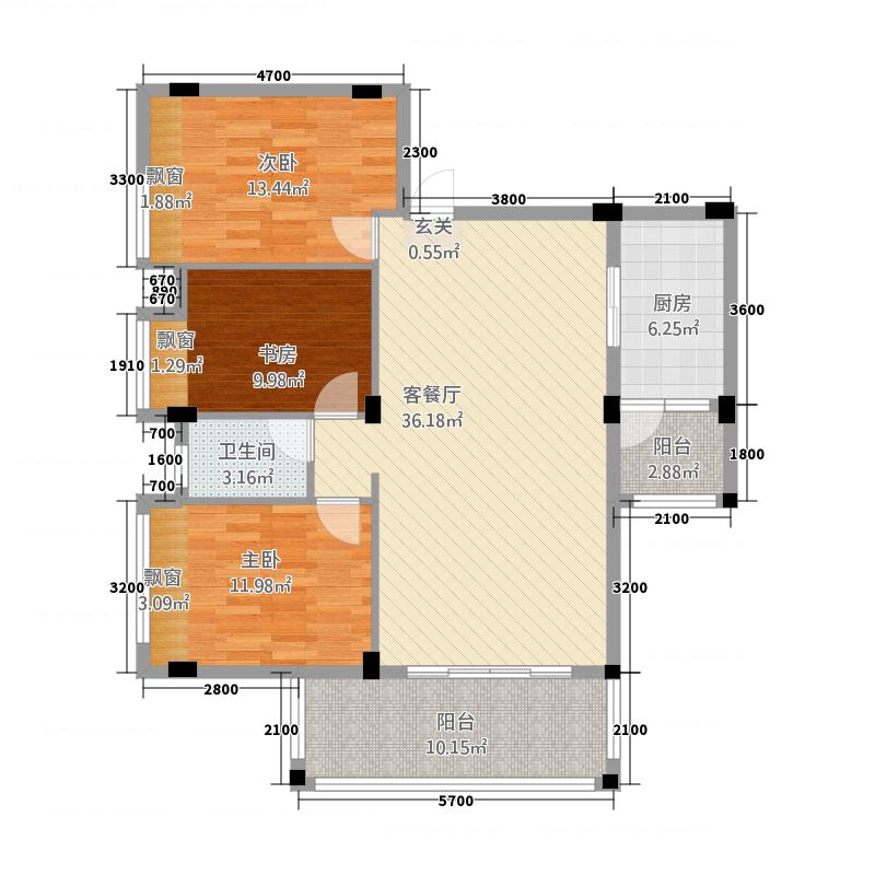 华浩国际城6113.20㎡一期6座标准层06户型3室2厅1卫