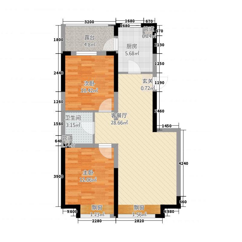 亿甲尚府85.75㎡高层东西户型2室2厅1卫