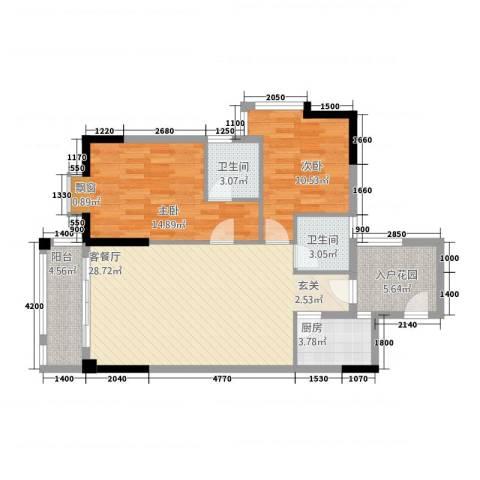 建筑业发展中心2室1厅2卫1厨74.26㎡户型图