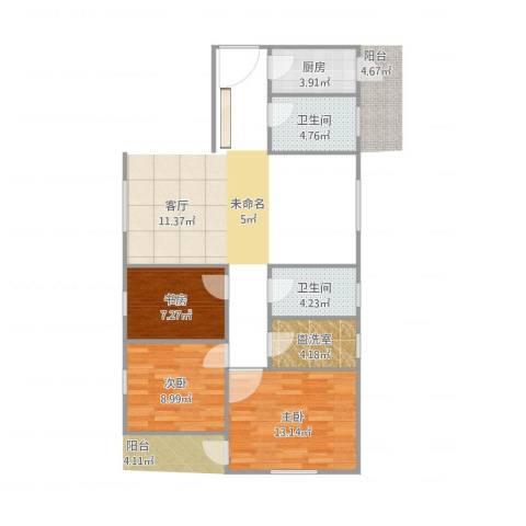 莲花广场3室1厅2卫1厨64.00㎡户型图