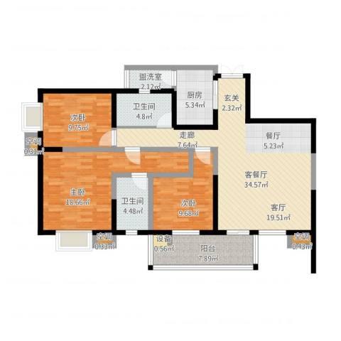 领峰3室1厅2卫1厨144.00㎡户型图