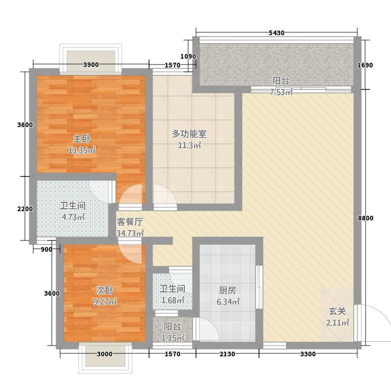 傣泐金湾三期悦江苑115.00㎡B1-户型3室2厅2卫1厨