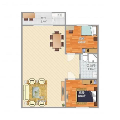 新锦虹北园2室1厅1卫1厨93.00㎡户型图