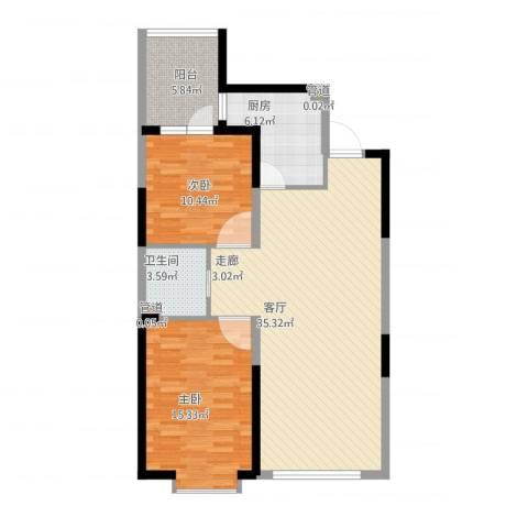 澳海澜庭2室1厅1卫1厨108.00㎡户型图