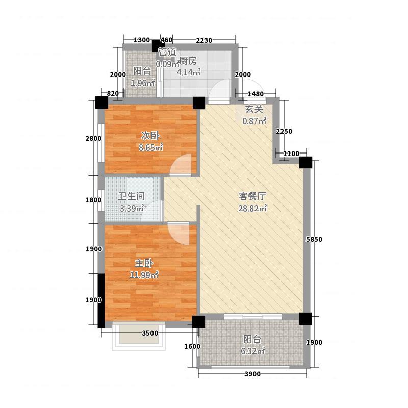 滨江世纪城28115.20㎡28B户型2室2厅1卫1厨