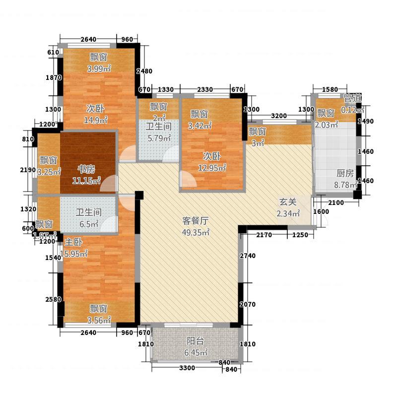 鼎弘东湖湾87141.54㎡8#07单元D44室户型4室2厅2卫4厨