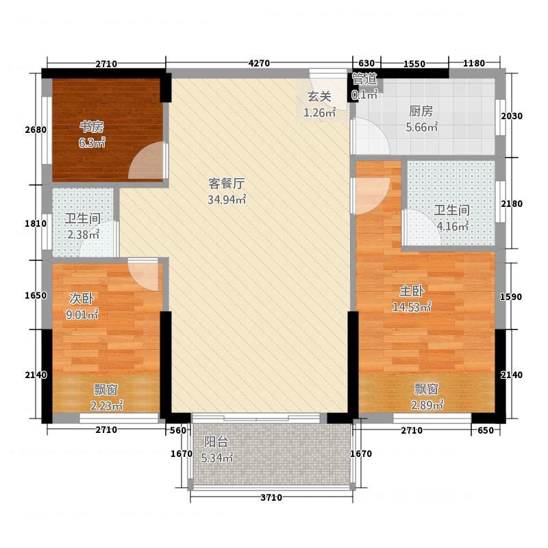 鼎弘东湖湾826114.13㎡8#02/06单元D23室户型3室2厅2卫3厨