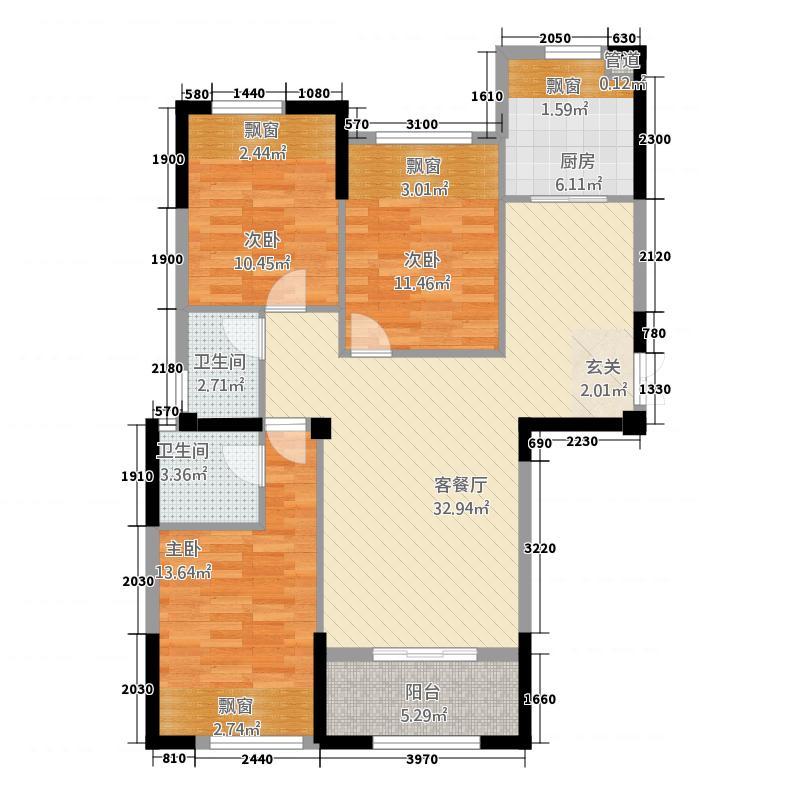 鼎弘东湖湾835121.25㎡8#03/05单元D33室户型3室2厅2卫2厨