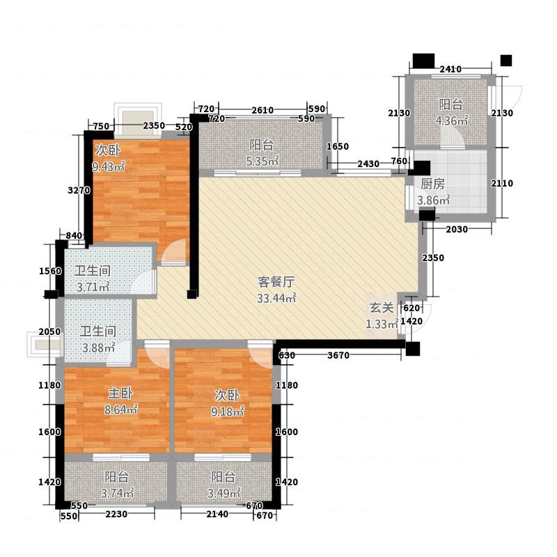 石狮阳光城丽兹公馆128.20㎡A户型3室2厅2卫
