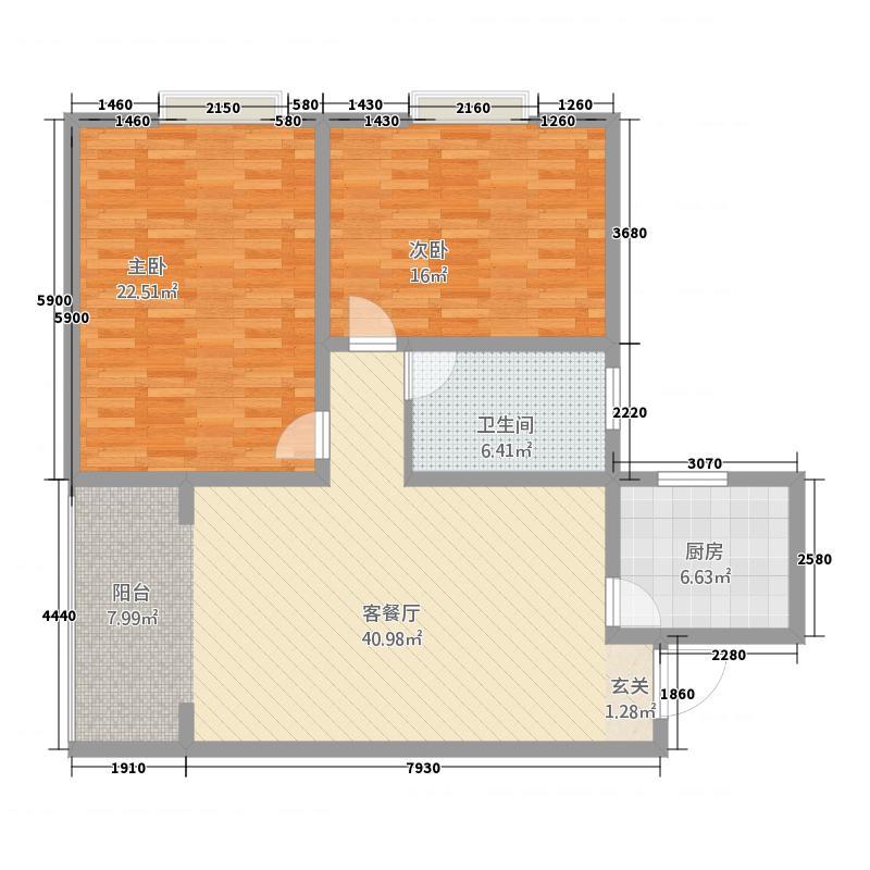 襄城明珠128.65㎡二期高层12#B户型2室2厅1卫1厨