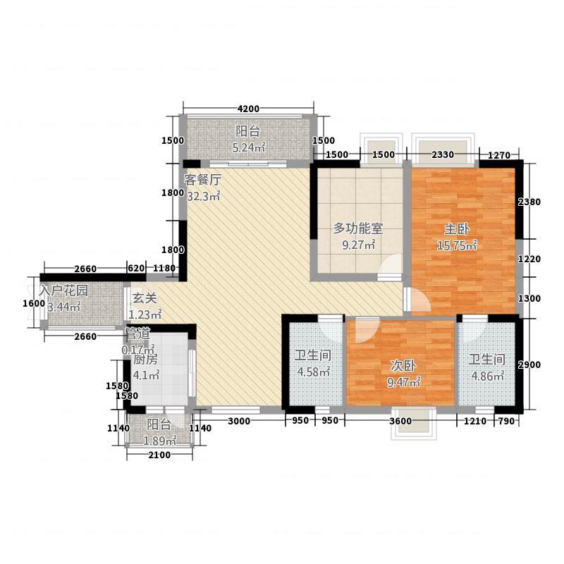 观澜国际1112.73㎡二期1号楼偶数层B2户型3室2厅2卫1厨