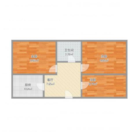 新源西里中街3室1厅1卫1厨57.00㎡户型图