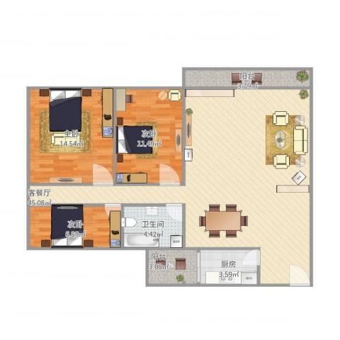 碧琴湾3室1厅1卫1厨125.00㎡户型图