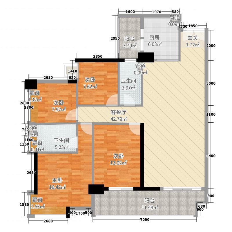 富力现代广场14143.20㎡B1-B4栋B户型4室2厅2卫1厨