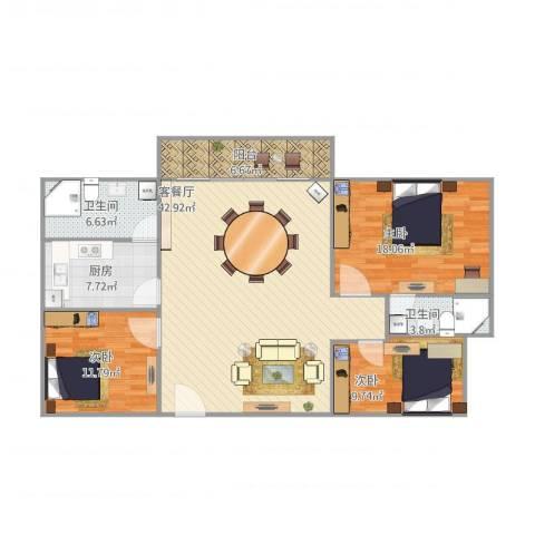 兴业新村3房3室1厅2卫1厨143.00㎡户型图