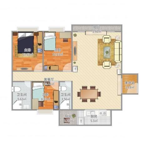 碧琴湾3室1厅2卫1厨142.00㎡户型图