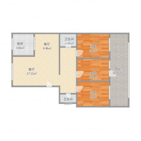 济南大学宿舍三室两厅两卫3室1厅2卫1厨78.00㎡户型图