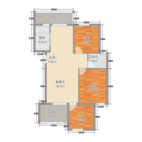 水云间3室1厅1卫1厨79.06㎡户型图