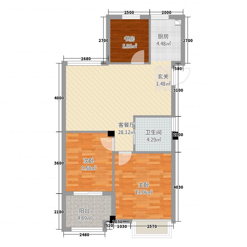 青山鹤岭322.20㎡D户型3室2厅1卫1厨