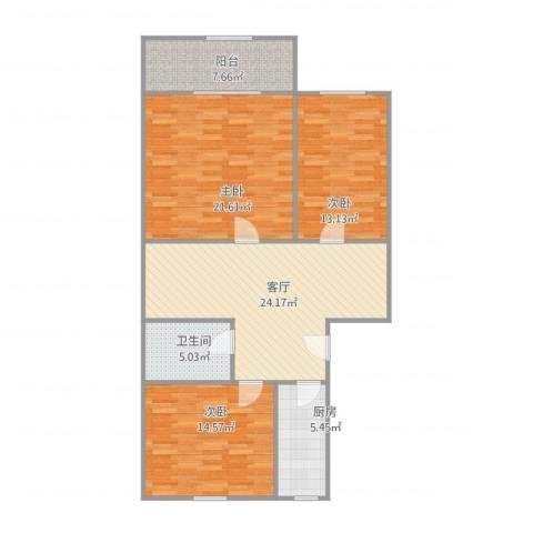 阜成路95号院3室1厅1卫1厨123.00㎡户型图
