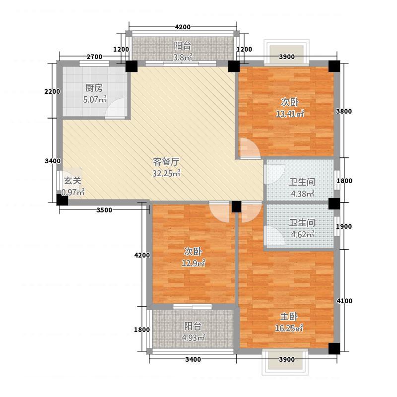 鑫盛国际32111.32㎡A户型3室2厅2卫1厨